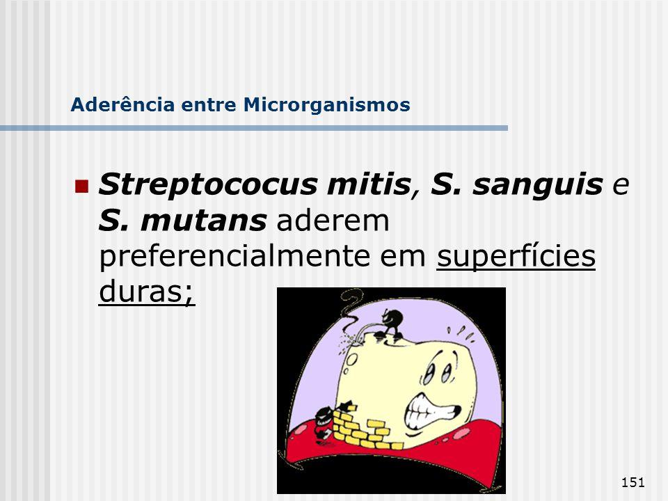 151 Aderência entre Microrganismos Streptococus mitis, S. sanguis e S. mutans aderem preferencialmente em superfícies duras;