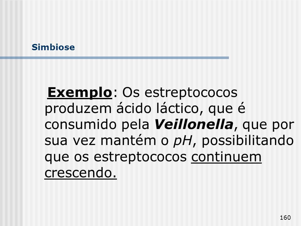 160 Simbiose Exemplo: Os estreptococos produzem ácido láctico, que é consumido pela Veillonella, que por sua vez mantém o pH, possibilitando que os es