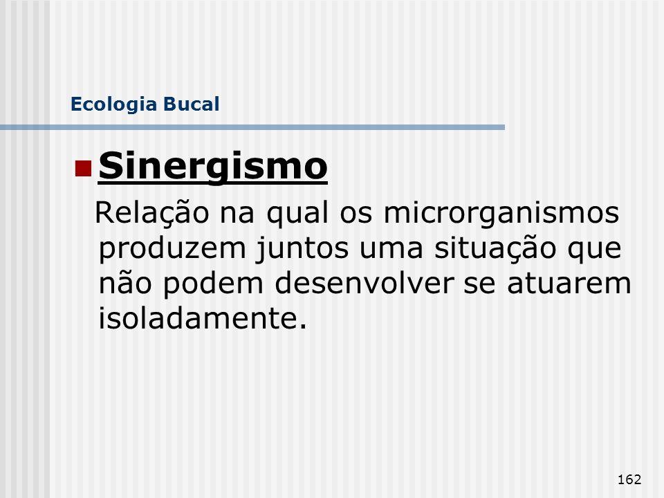 162 Ecologia Bucal Sinergismo Relação na qual os microrganismos produzem juntos uma situação que não podem desenvolver se atuarem isoladamente.