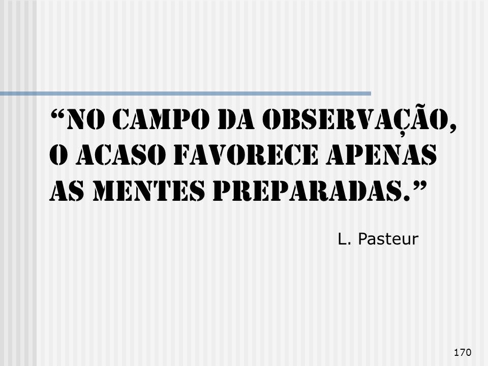 170 No campo da observação, o acaso favorece apenas as mentes preparadas. L. Pasteur