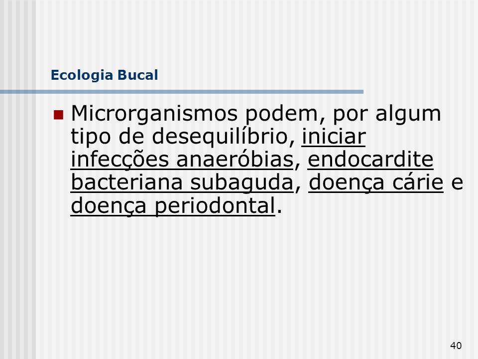 40 Ecologia Bucal Microrganismos podem, por algum tipo de desequilíbrio, iniciar infecções anaeróbias, endocardite bacteriana subaguda, doença cárie e
