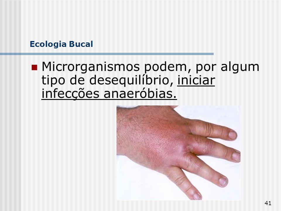 41 Ecologia Bucal Microrganismos podem, por algum tipo de desequilíbrio, iniciar infecções anaeróbias.