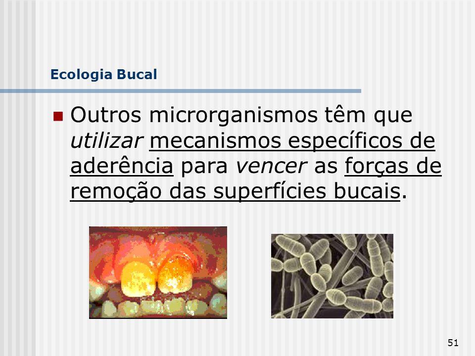 51 Ecologia Bucal Outros microrganismos têm que utilizar mecanismos específicos de aderência para vencer as forças de remoção das superfícies bucais.