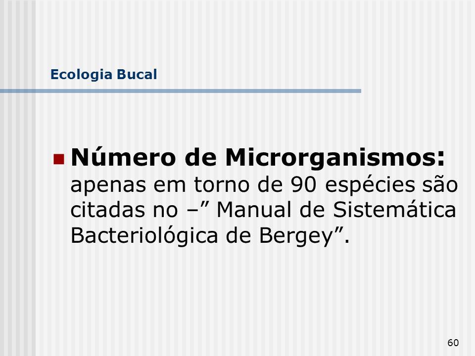 60 Ecologia Bucal Número de Microrganismos : apenas em torno de 90 espécies são citadas no – Manual de Sistemática Bacteriológica de Bergey.