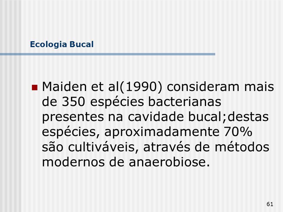 61 Ecologia Bucal Maiden et al(1990) consideram mais de 350 espécies bacterianas presentes na cavidade bucal;destas espécies, aproximadamente 70% são