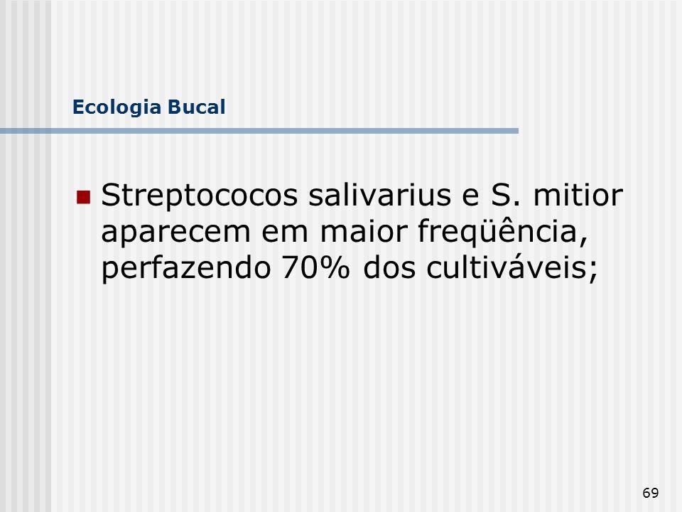 69 Ecologia Bucal Streptococos salivarius e S. mitior aparecem em maior freqüência, perfazendo 70% dos cultiváveis;