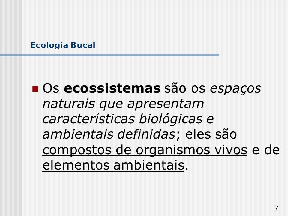 18 Ecologia Bucal Poucas regiões do organismo não apresentam bactérias, como exemplo temos a laringe, o cérebro e órgãos internos.