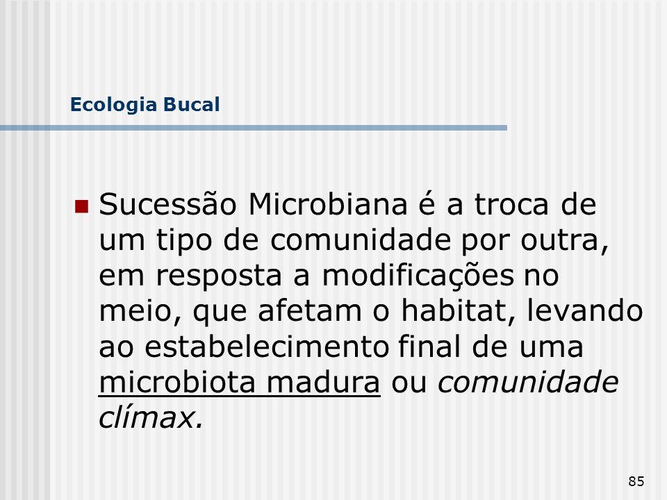 85 Ecologia Bucal Sucessão Microbiana é a troca de um tipo de comunidade por outra, em resposta a modificações no meio, que afetam o habitat, levando