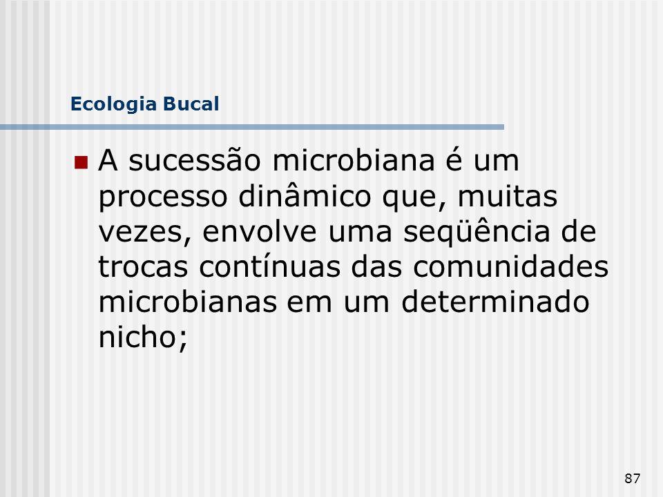 87 Ecologia Bucal A sucessão microbiana é um processo dinâmico que, muitas vezes, envolve uma seqüência de trocas contínuas das comunidades microbiana