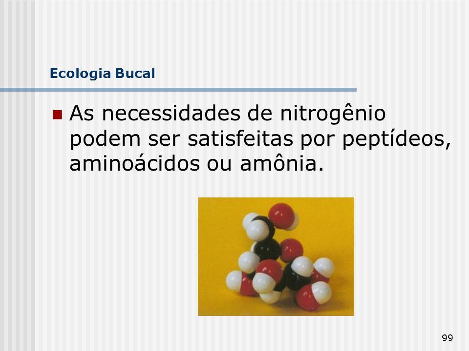 99 Ecologia Bucal As necessidades de nitrogênio podem ser satisfeitas por peptídeos, aminoácidos ou amônia.