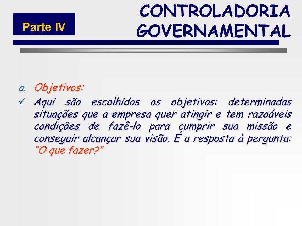 135 6.PLANO DE AÇÃO a.Objetivos b.Estratégias c.Metas CONTROLADORIA GOVERNAMENTAL Parte IV