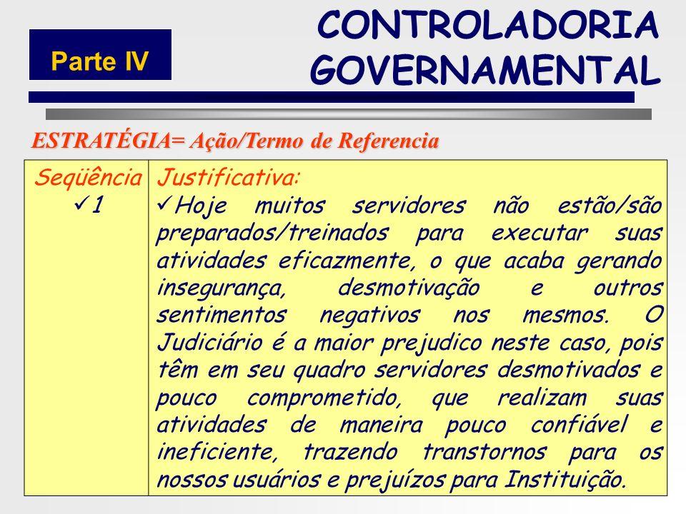 149 Seqüência: 1 Título da Estratégia: Valorização e Socialização do Servidor com alteração no PCCS. ESTRATÉGIA CONTROLADORIA GOVERNAMENTAL Parte IV