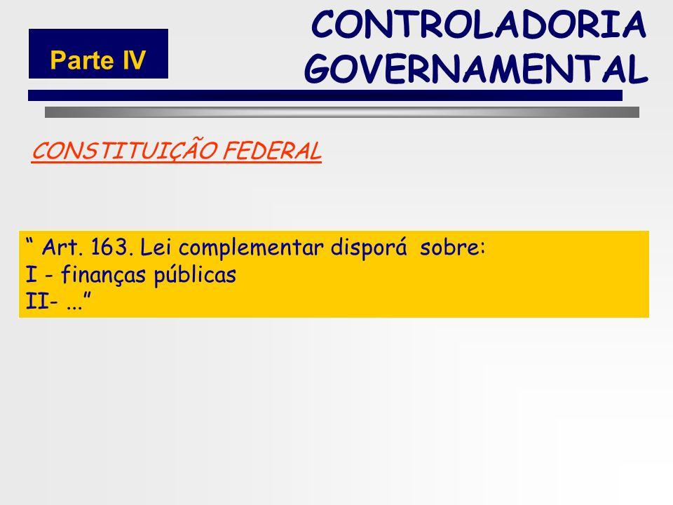 157 FUNDAMENTAÇÃO LEGAL Constituição Federal Lei Federal 4.320/64 Lei Complementar 101/2000 (LRF) CONTROLADORIA GOVERNAMENTAL Parte IV