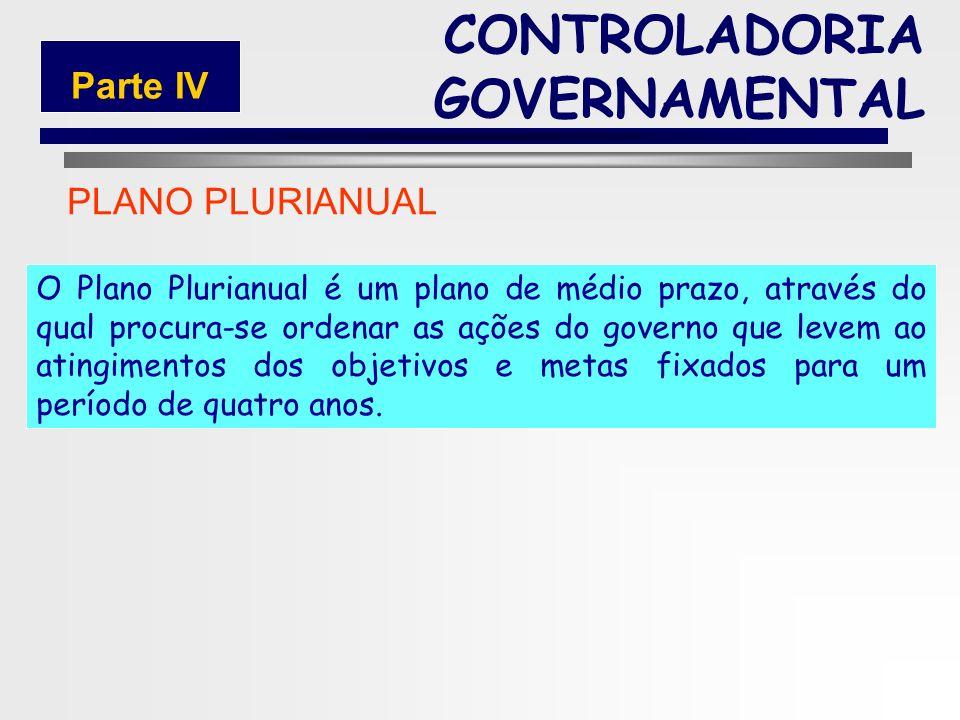 160 PLANEJAMENTO ESTRATÉGICO PLANO PLURIANUAL (PPA) CONTROLADORIA GOVERNAMENTAL Parte IV