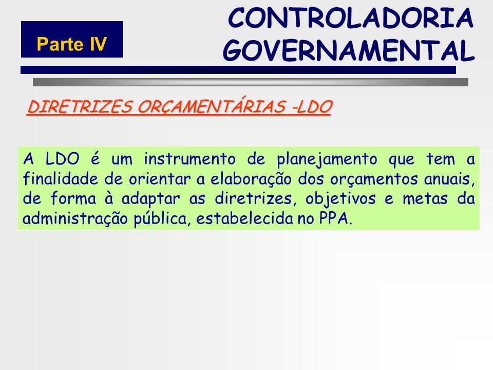 164 PLANEJAMENTO TÁTICO OU OPERACIONAL LEI DE DIRETRIZES ORÇAMENTÁRIA (LDO) CONTROLADORIA GOVERNAMENTAL Parte IV
