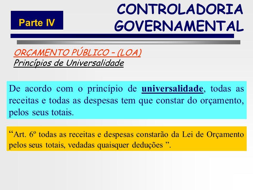 177 ORÇAMENTO PÚBLICO – (LOA) Princípios de Unidade De acordo com o princípio de unidade o orçamento deve constituir uma só peça, compreendendo todas