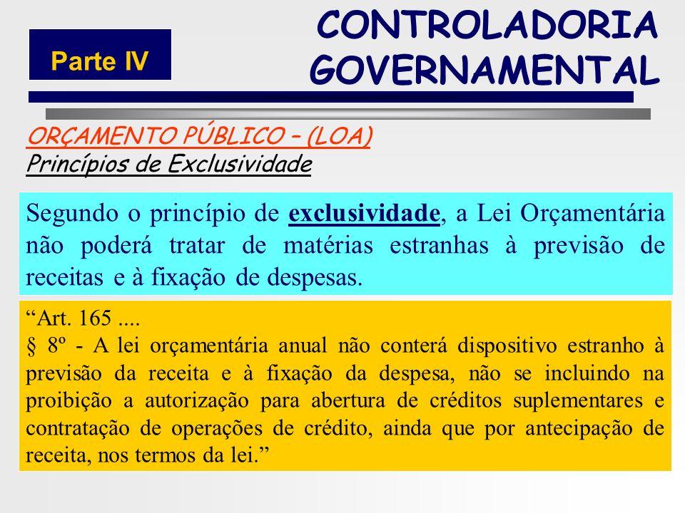 180 ORÇAMENTO PÚBLICO – (LOA) Princípios Orçamentários Exclusividade Constituição Federal de 1988: Publicidade CONTROLADORIA GOVERNAMENTAL Parte IV