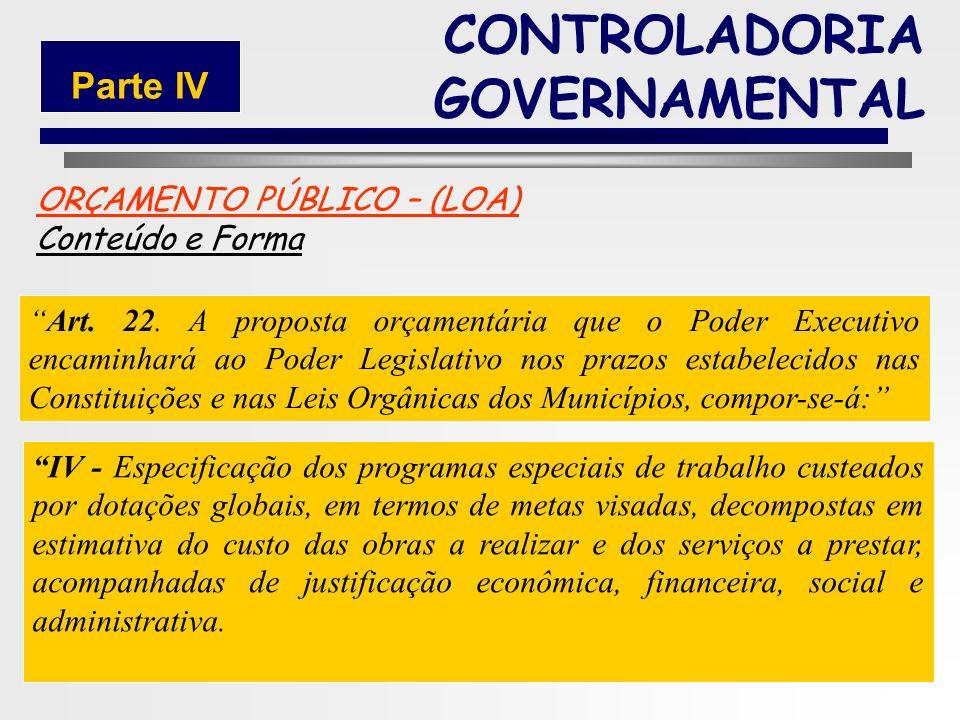 185 ORÇAMENTO PÚBLICO – (LOA) Conteúdo e Forma Art. 22. A proposta orçamentária que o Poder Executivo encaminhará ao Poder Legislativo nos prazos esta