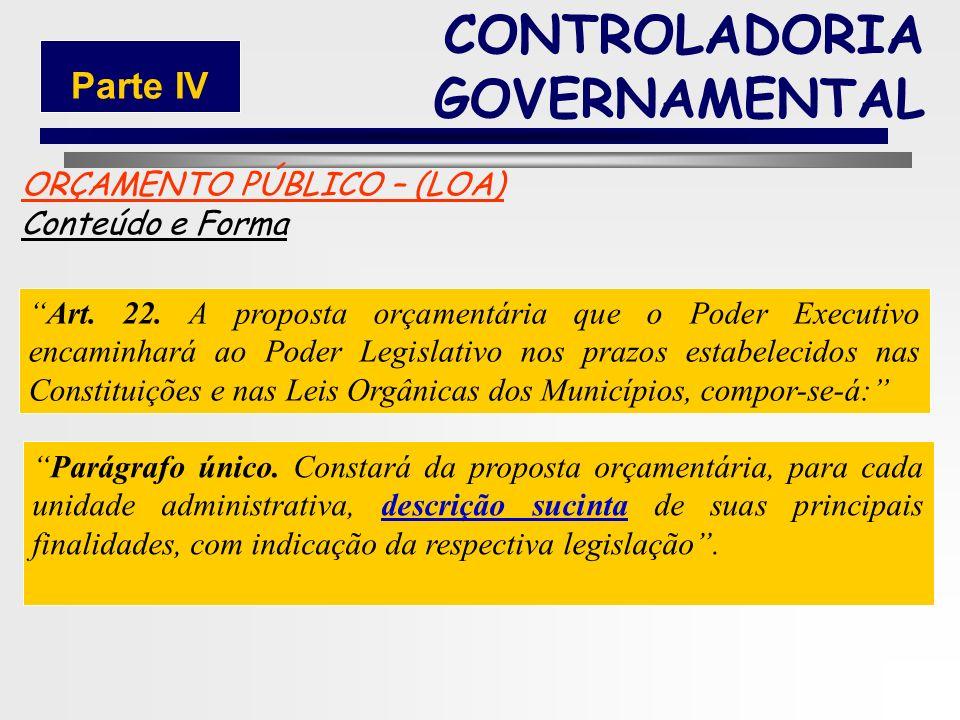 186 ORÇAMENTO PÚBLICO – (LOA) Conteúdo e Forma Art. 22. A proposta orçamentária que o Poder Executivo encaminhará ao Poder Legislativo nos prazos esta