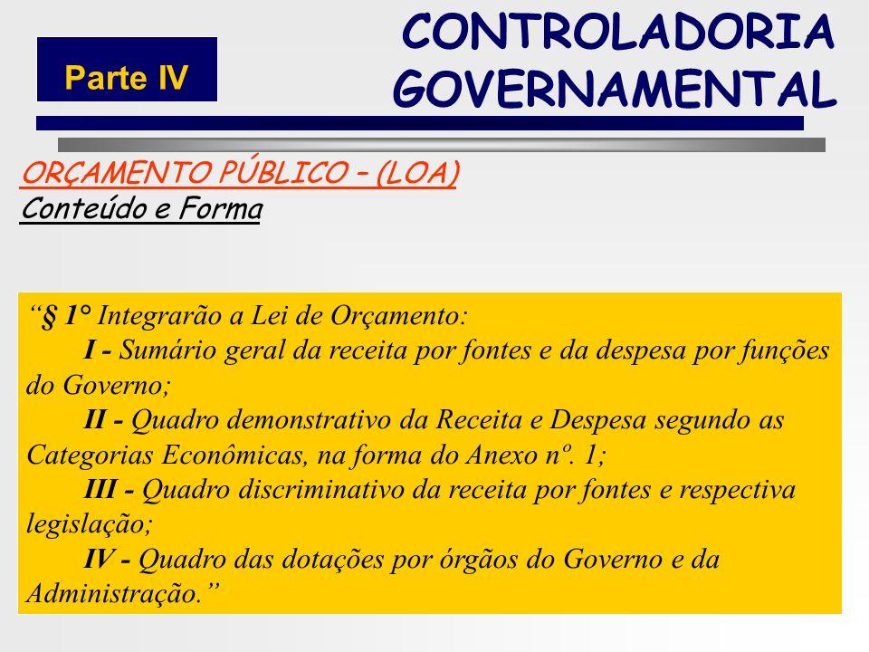 189 LEI 4.320/64 – 17/03/64. ORÇAMENTO Partes Integrantes CONTROLADORIA GOVERNAMENTAL Parte IV