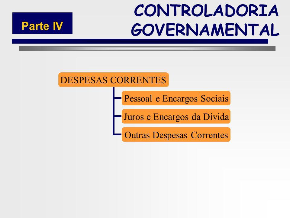 209 DESPESA ORÇAMENTÁRIA Despesas Correntes Despesas de Capital CONTROLADORIA GOVERNAMENTAL Parte IV