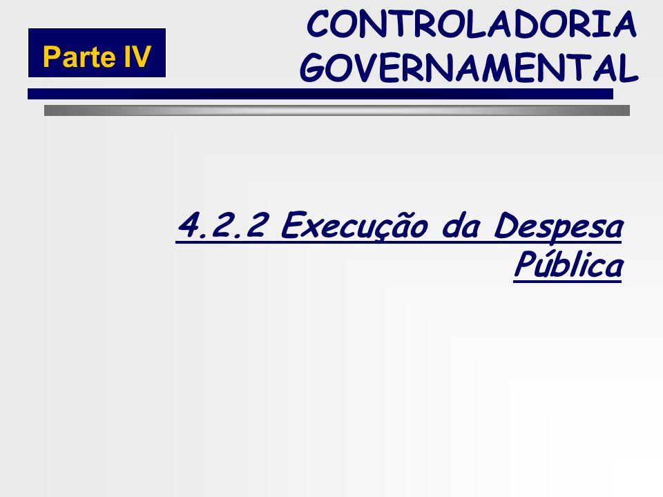 219 Fase da Execução da Receita Extra-Orçamentária CONTROLADORIA GOVERNAMENTAL Parte IV