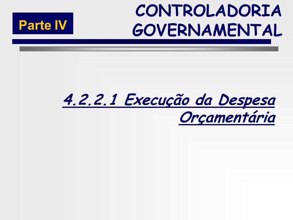 220 4.2.2 Execução da Despesa Pública CONTROLADORIA GOVERNAMENTAL Parte IV