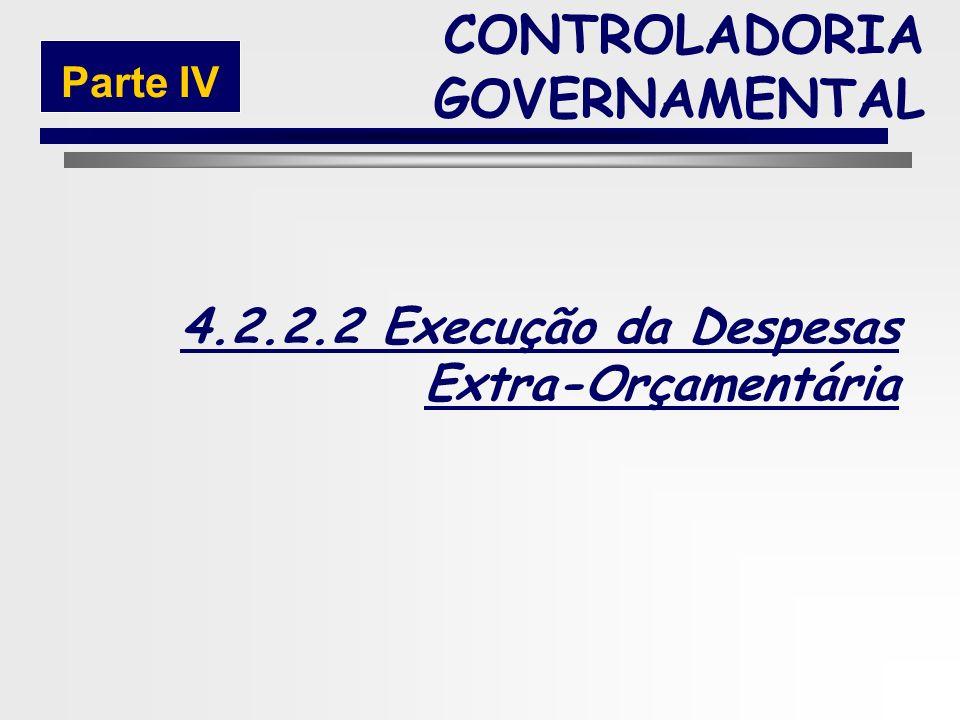 223 Fases da Execução da Despesa Orçamentária CONTROLADORIA GOVERNAMENTAL Parte IV