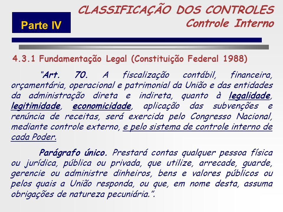 235 UNIÃO 5 CLASSIFICAÇÃO DOS CONTROLES Controle Interno Parte IV