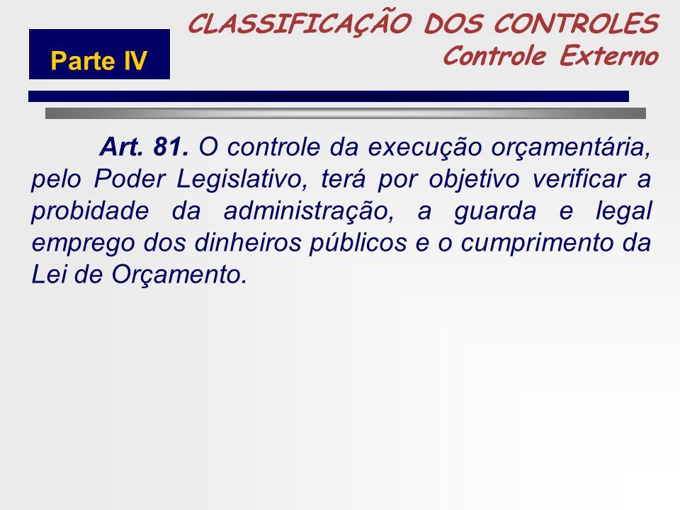 247 5 CLASSIFICAÇÃO DOS CONTROLES Controle Externo LEI 4.320/64 CAPÍTULO III Do Controle Externo Parte IV