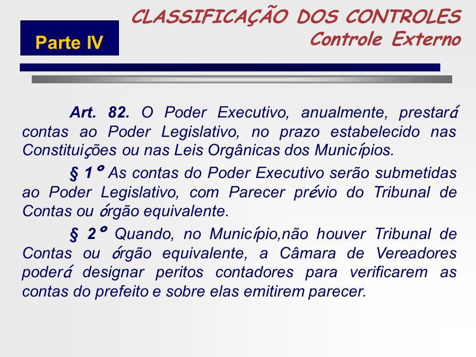 248 5 CLASSIFICAÇÃO DOS CONTROLES Controle Externo Art. 81. O controle da execução orçamentária, pelo Poder Legislativo, terá por objetivo verificar a