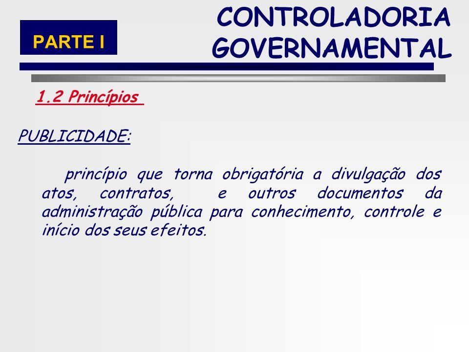 24 MORALIDADE: os atos e as atividades públicas devem obedecer aos princípios morais. CONTROLADORIA GOVERNAMENTAL 1.2 Princípios PARTE I