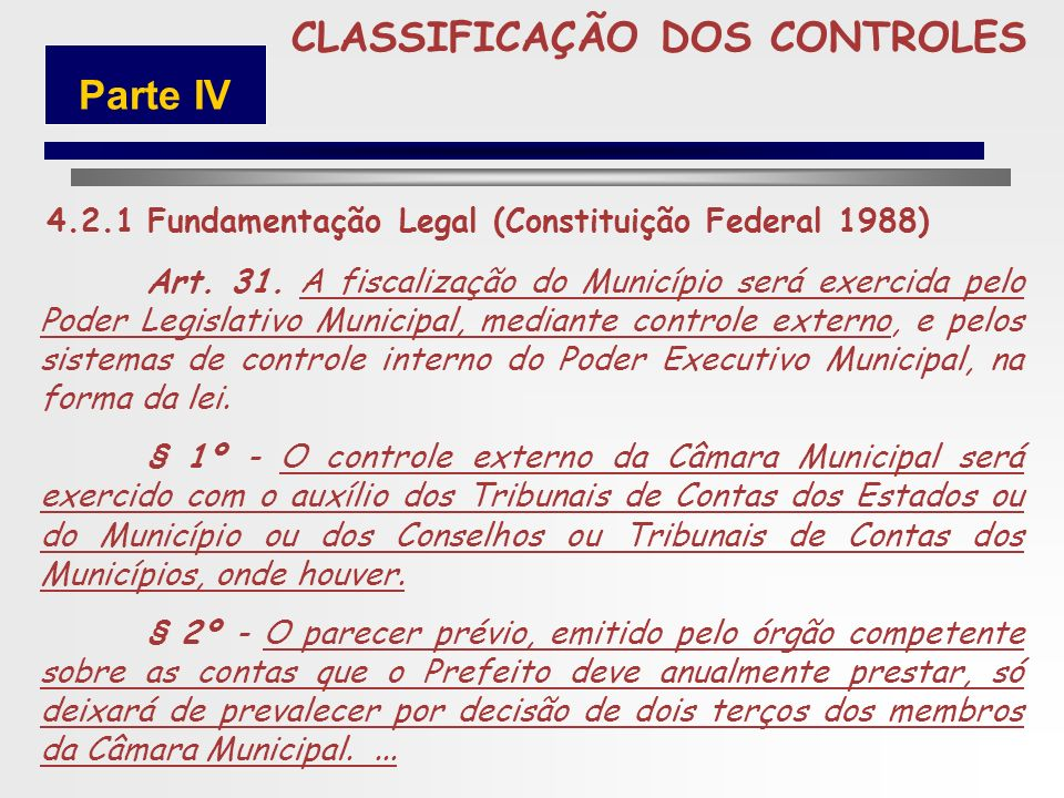 249 5 CLASSIFICAÇÃO DOS CONTROLES Controle Externo Art. 82. O Poder Executivo, anualmente, prestar á contas ao Poder Legislativo, no prazo estabelecid