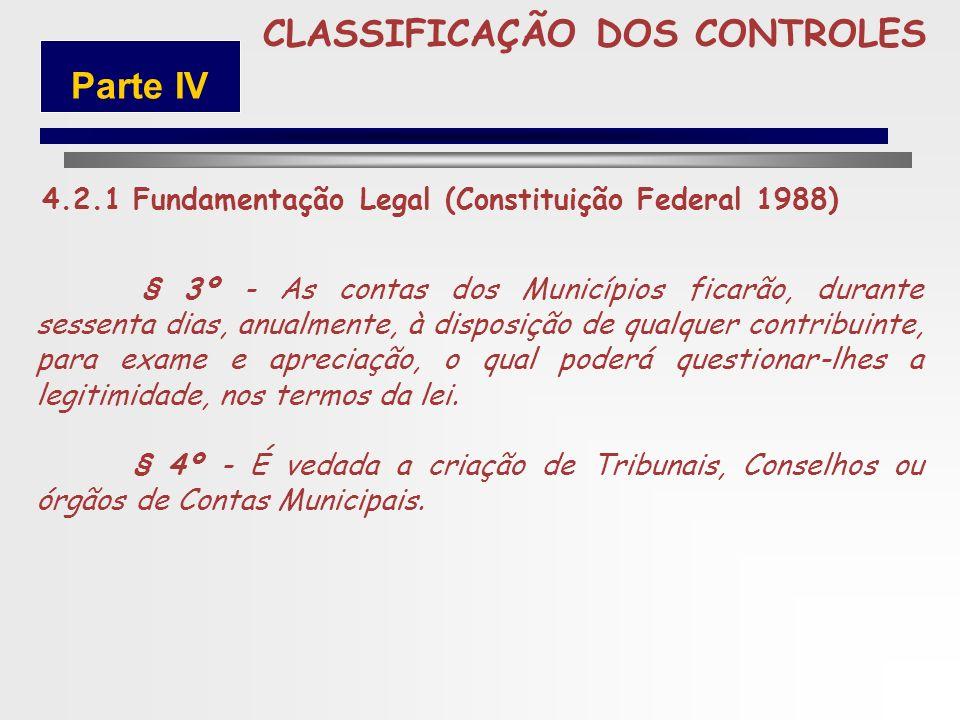 250 CLASSIFICAÇÃO DOS CONTROLES Art. 31. A fiscalização do Município será exercida pelo Poder Legislativo Municipal, mediante controle externo, e pelo