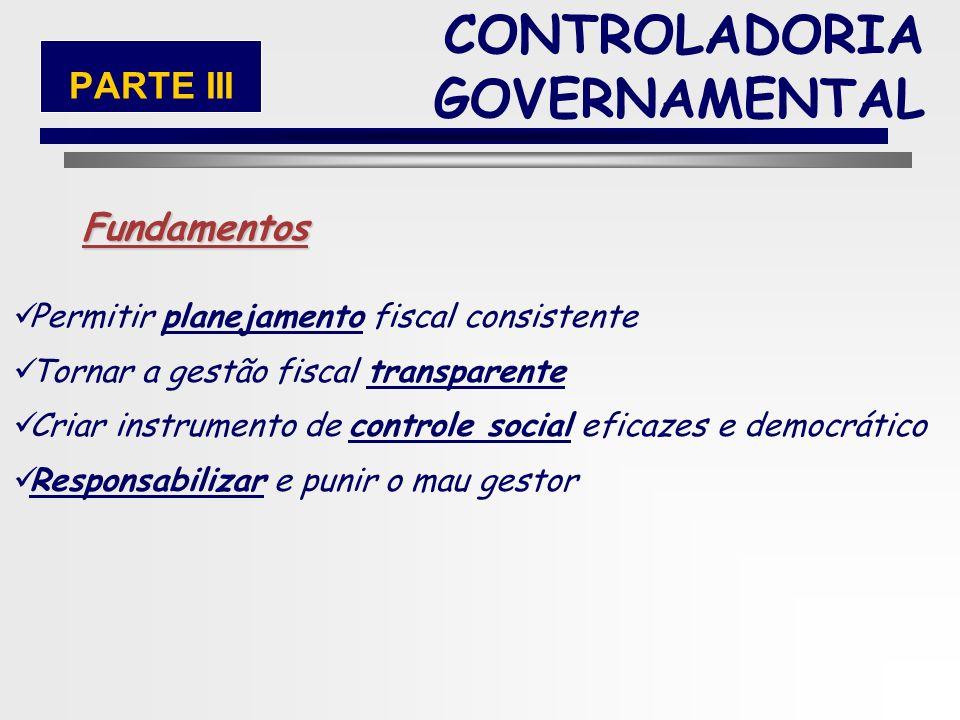 47 CONTROLADORIA GOVERNAMENTAL PARTE III Não Gastar mais do arrecadar Não se endividar mais do que a capacidade de pagar Escolher corretamente os gast