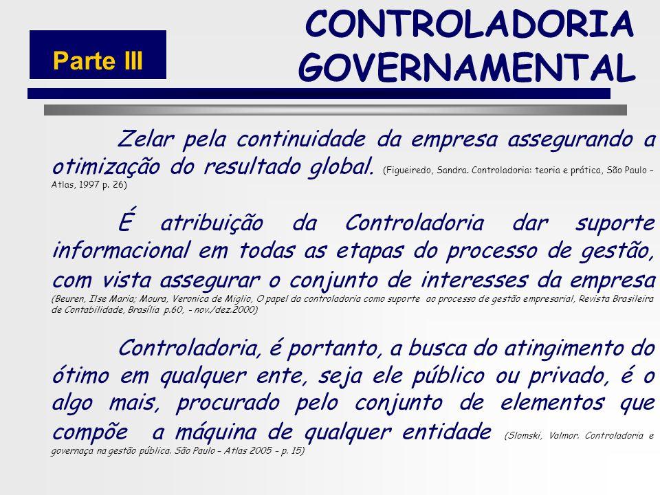 49 3.2 Conceitos de Controladoria CONTROLADORIA GOVERNAMENTAL Parte III