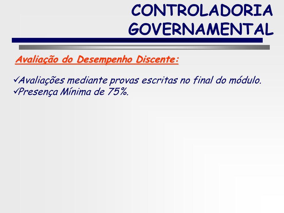 5 CONTROLADORIA GOVERNAMENTAL PROCEDIMENTOS DE ENSINO / ATIVIDADE DISCENTE aulas expositivas; exercícios práticos; Metodologias de Ensino e Aprendizag