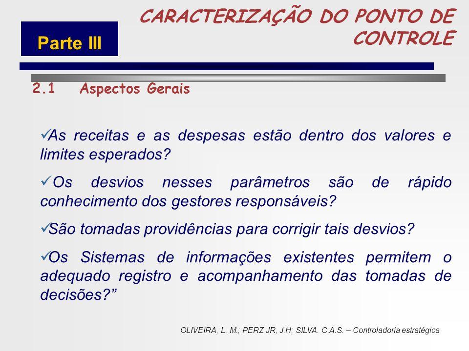 71 CARACTERIZAÇÃO DO PONTO DE CONTROLE 2.1Aspectos Gerais... importante atribuição da Controladoria é exercer o controle das atividades de uma entidad