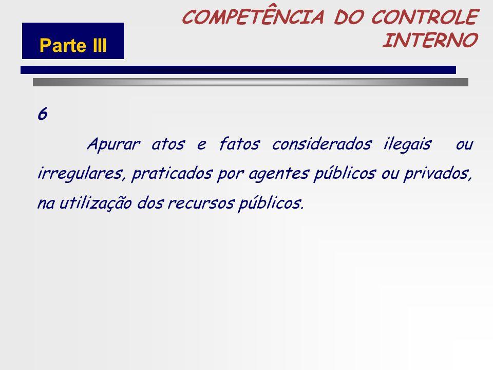 81 COMPETÊNCIA DO CONTROLE INTERNO 5 Realizar auditorias sobre a gestão de recursos públicos sob a responsabilidade de órgãos e entidades públicas e p