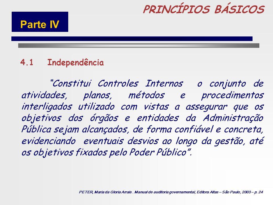 86 PRINCÍPIOS BÁSICOS 4.Princípios de Controle Interno São princípios de Controle Interno o conjunto de regras, diretrizes e sistemas, que visam ao at