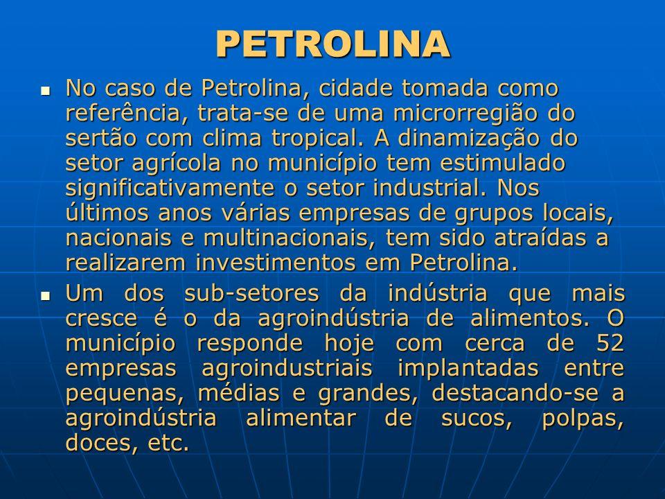 PETROLINA No caso de Petrolina, cidade tomada como referência, trata-se de uma microrregião do sertão com clima tropical. A dinamização do setor agríc