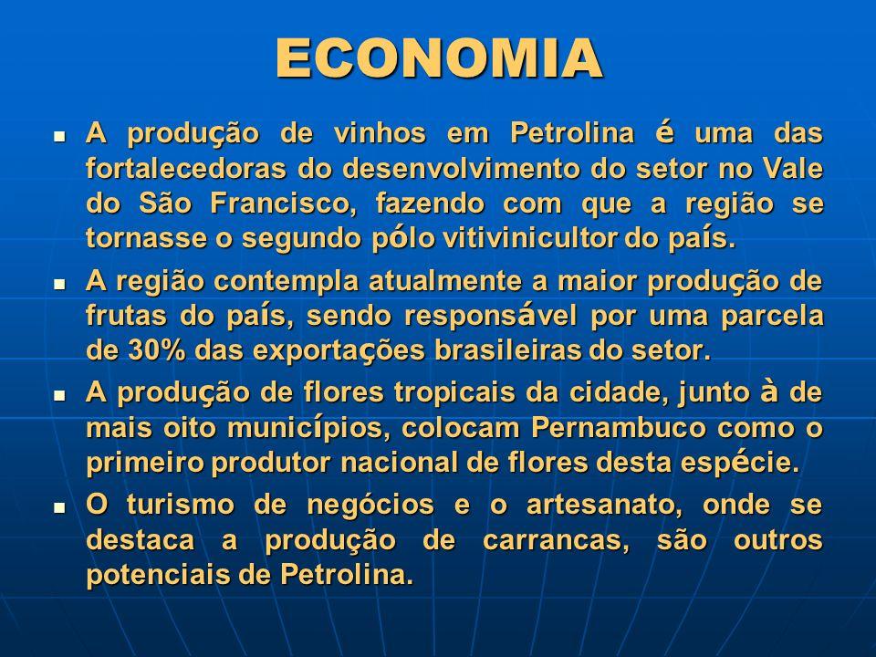 ECONOMIA A produ ç ão de vinhos em Petrolina é uma das fortalecedoras do desenvolvimento do setor no Vale do São Francisco, fazendo com que a região s