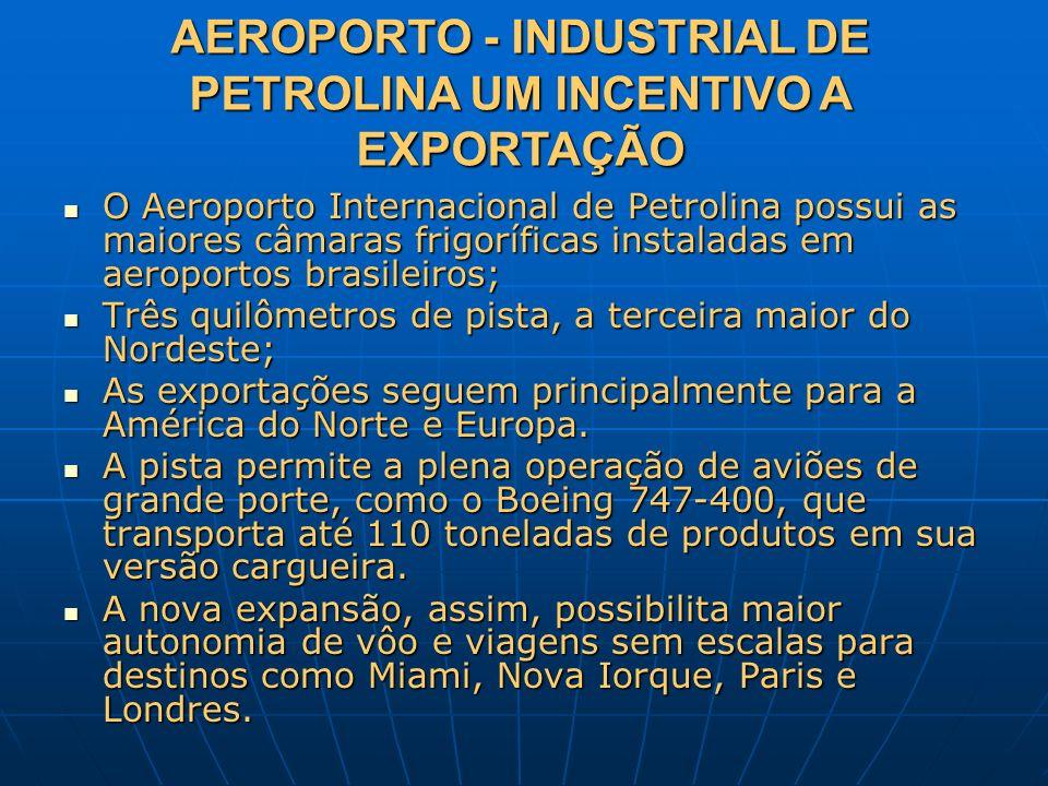 AEROPORTO - INDUSTRIAL DE PETROLINA UM INCENTIVO A EXPORTAÇÃO O Aeroporto Internacional de Petrolina possui as maiores câmaras frigoríficas instaladas