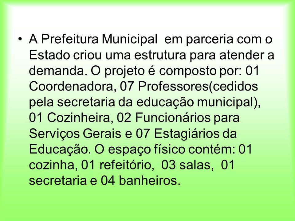 A Prefeitura Municipal em parceria com o Estado criou uma estrutura para atender a demanda. O projeto é composto por: 01 Coordenadora, 07 Professores(