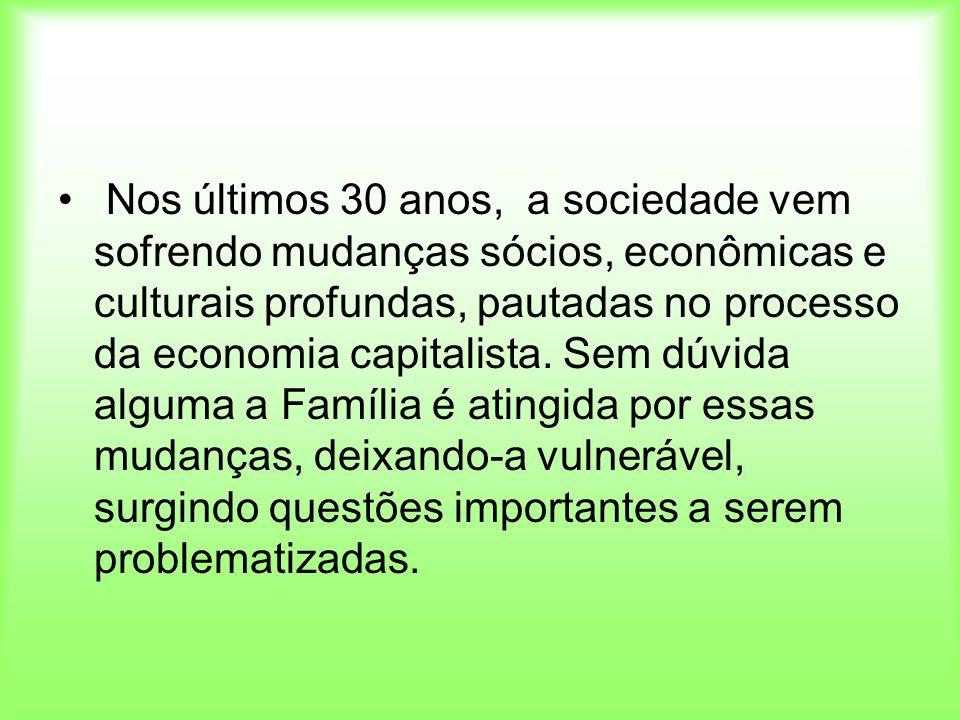 Nos últimos 30 anos, a sociedade vem sofrendo mudanças sócios, econômicas e culturais profundas, pautadas no processo da economia capitalista. Sem dúv