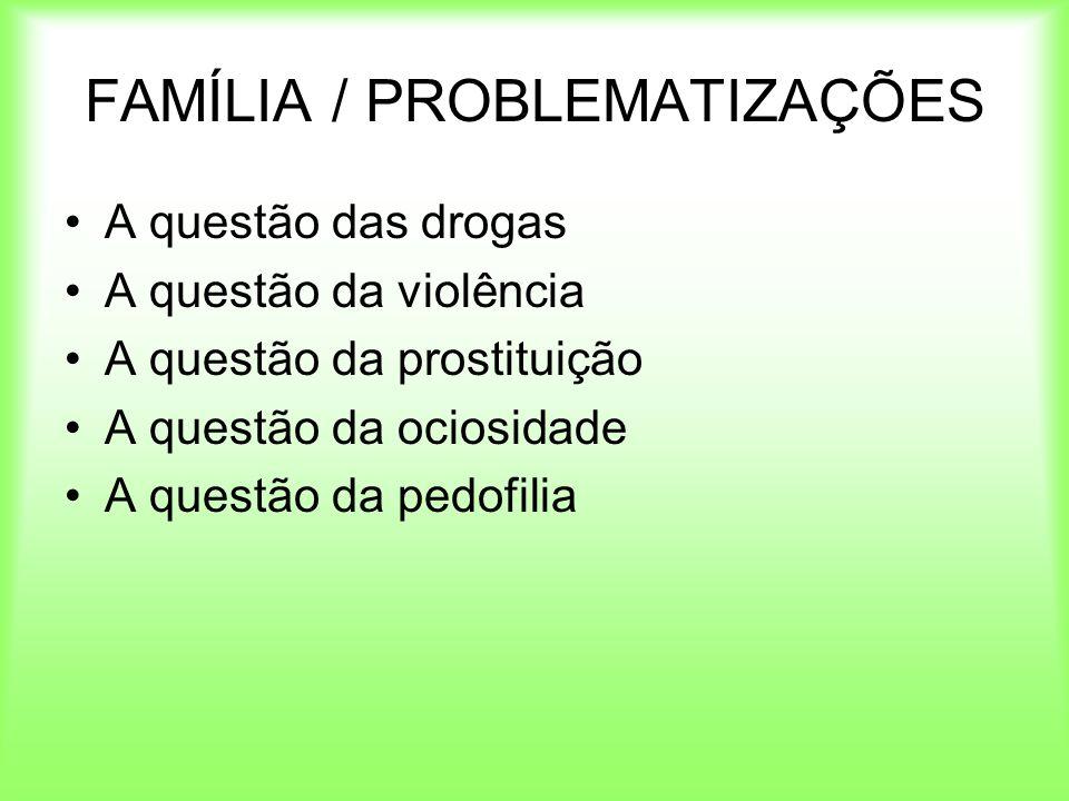 FAMÍLIA / PROBLEMATIZAÇÕES A questão das drogas A questão da violência A questão da prostituição A questão da ociosidade A questão da pedofilia