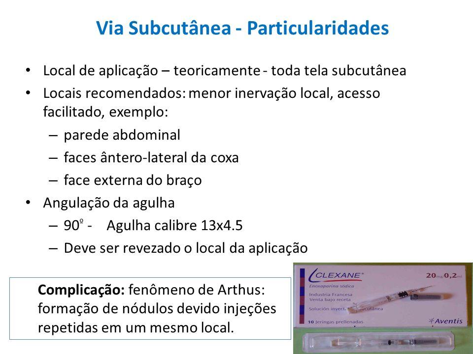 Local de aplicação – teoricamente - toda tela subcutânea Locais recomendados: menor inervação local, acesso facilitado, exemplo: – parede abdominal –