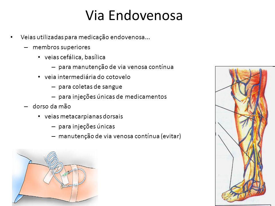 Veias utilizadas para medicação endovenosa... – membros superiores veias cefálica, basílica – para manutenção de via venosa contínua veia intermediári