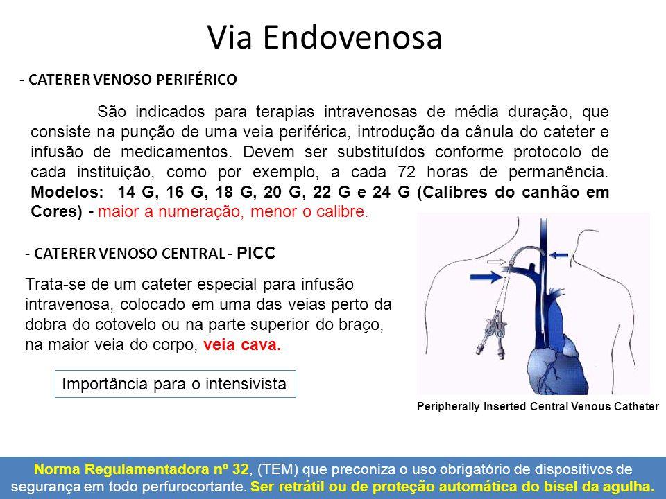 - CATERER VENOSO PERIFÉRICO - CATERER VENOSO CENTRAL - PICC São indicados para terapias intravenosas de média duração, que consiste na punção de uma v