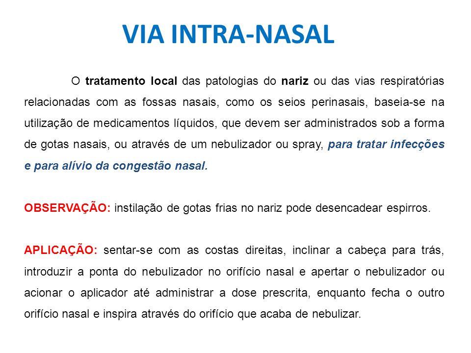 VIA INTRA-NASAL O tratamento local das patologias do nariz ou das vias respiratórias relacionadas com as fossas nasais, como os seios perinasais, base